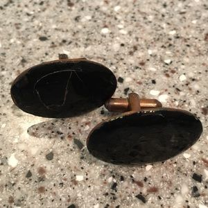 Men's Vintage Copper Black Oval Shaped cuff Links